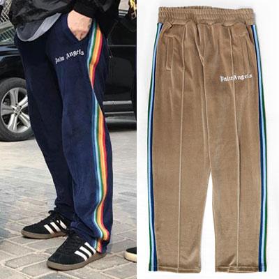[UNISEX] BTS RM STYLE! RAINBOW SIDE LINE VELVET TRACK PANTS(3color)