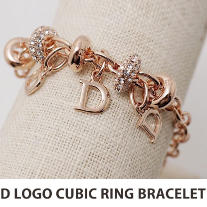 D LOGO CHARM CUBIC RING BRACELET(2color)