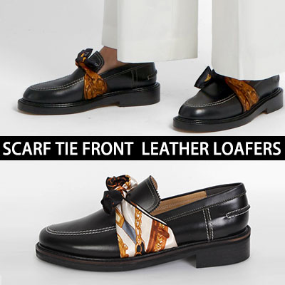 [22.5~28.0cm][UNISEX] SCARF TIE FRONT LEATHER LOAFERS