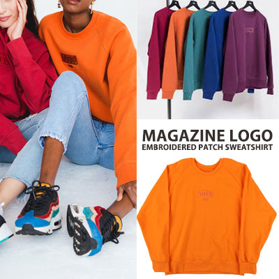 [UNISEX] MAGAZINE LOGO EMBROIDERY PATCH SWEATSHIRTS(5color)