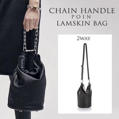 [LAMB SKIN]CHAIN HANDLE POINT LAMSKIN BAG(2way)