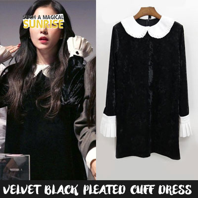 REDVELVET st. VELVET BLACK PLEATED CUFF DRESS(3size)