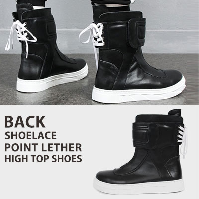[25.5~28.0cm] BACK SHOELACE POINT LEATHER HIGH TOP SHOES(3size)