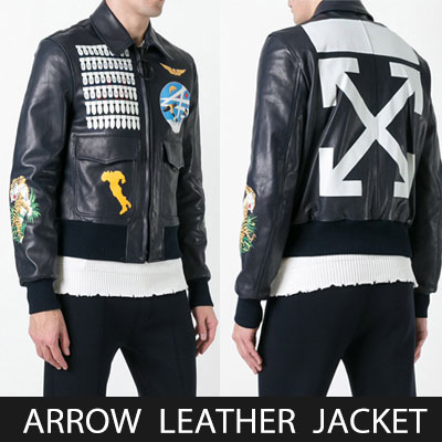 ARROW/MULTI PRINT LEATHER JACKET(2size)