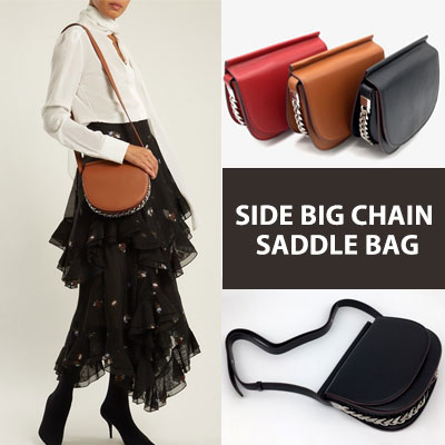 SIDE BIG CHAIN SADDLE BAG(3color)
