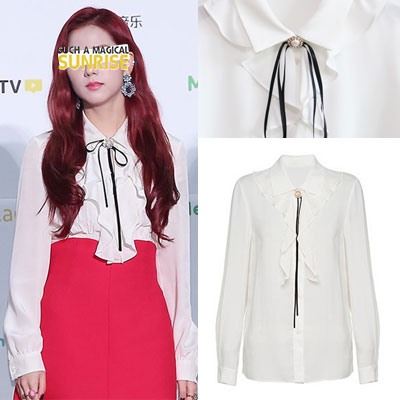 BLACK PINK/HA JIWON st. BLACK RIBBON POINT RUFFLE BLOUSE
