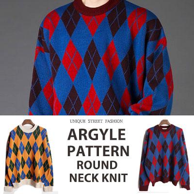 [UNISEX] [WOOL 60%] ARGYLE PATTERN ROUND NECK KNIT(2color)