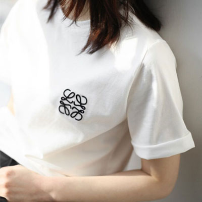【FEMININE : BLACK LABEL】ROPE EMBROIDERY LOGO SHORT SLEEVE T-SHIRTS(2color)
