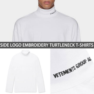 [UNISEX] SIDE LOGO EMBROIDERY TURTLENECK T-SHIRTS white ver.(2size)