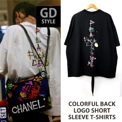 [UNISEX] bigbang/gd/gdragon st.COLORFUL BACK LOGO SHORT SLEEVE T-SHIRTS(2color)