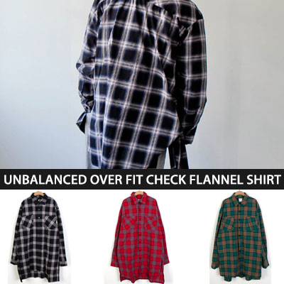 [UNISEX] [OVER SIZE]UNBALANCED OVER FIT CHECK FLANNEL SHIRTS(3color)