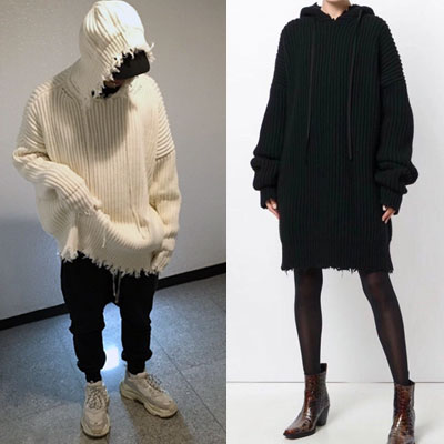 DESTROYED OVERSIZE KNIT LONG HOOD(2color)