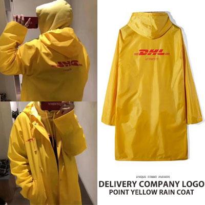 DELIVERY COMPANY LOGO POINT YELLOW RAIN COAT
