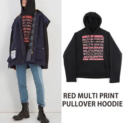[UNISEX] RED MULTI PRINT PULLOVER HOODIE