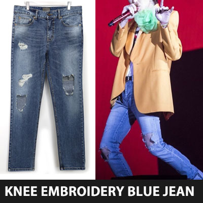 BIGBANG GD,GDRAGON/PARK HYUNGSIK st. KNEE DESTROYED BLUE JEAN(3size)