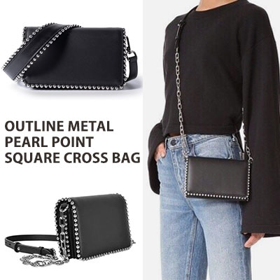 [COW HIDE] OUTLINE METAL PEARL POINT SQUARE CROSS BAG