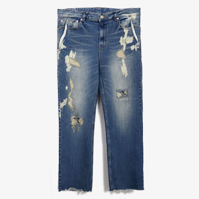 POINT WASHING COLOR DESTROYED BLUE JEANS(3size)