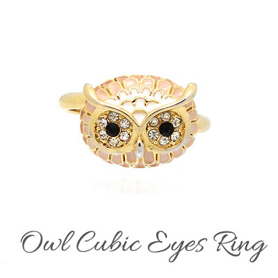[free size] CELEBRITY st. OWL CUBIC EYES RING(2color)