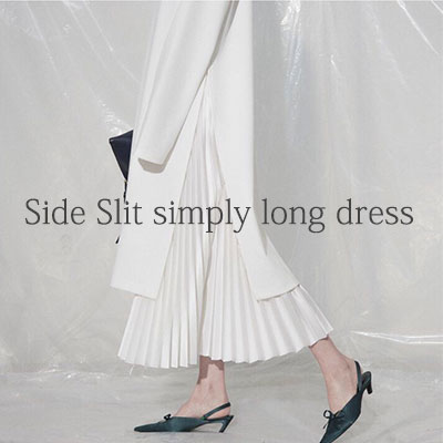 【FEMININE : BLACK LABEL】SIDE SLIT SIMPLY LONG DRESS -ivory ver.
