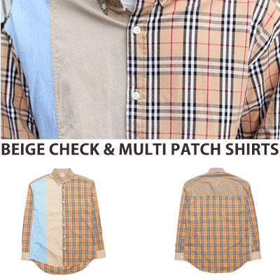 [UNISEX] BEIGE CHECK AND MULTI PATCH SHIRTS