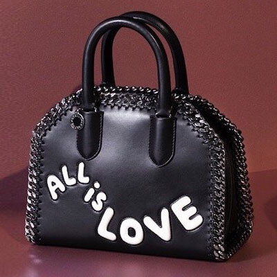 WHITE LOVE LOGO CHAIN TOTE BAG