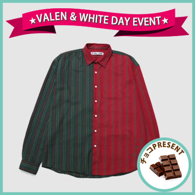 ★SWEET DAY EVENT★ [UNISEX] 2COLOR PIN STRIPE HALF&HALF SHIRTS(2color)