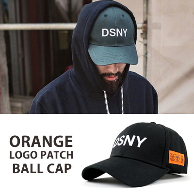 [UNISEX] ORANGE LOGO PATCH POINT BALL CAP