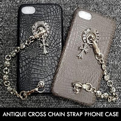 ANTIQUE CROSS CHAIN STRAP PHONE CASE(2color)