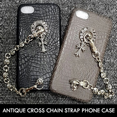 ANTIQUE CROSS CHAIN STRAP PHONE CASE(2color)