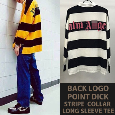 [UNISEX]  IKON BOBBY/BTS/DNA/JIN/ZICO st.BACK LOGO POINT DICK STRIPE COLLAR T-SHIRTS(2color)