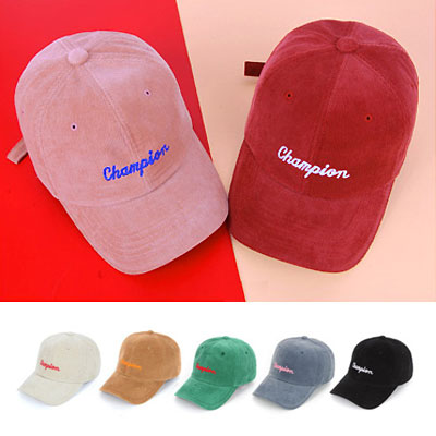 [UNISEX] CHAMPION LOGO CORDUROY BALL CAP(7color)