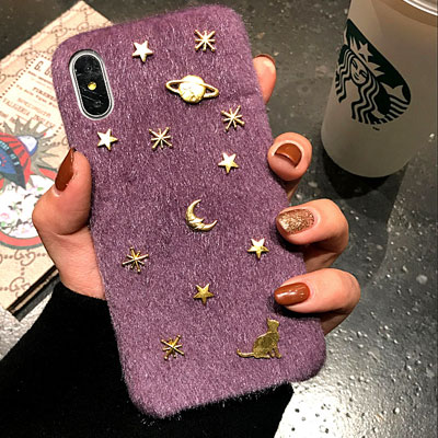 GOLD SPACE FUR iPHONE CASE