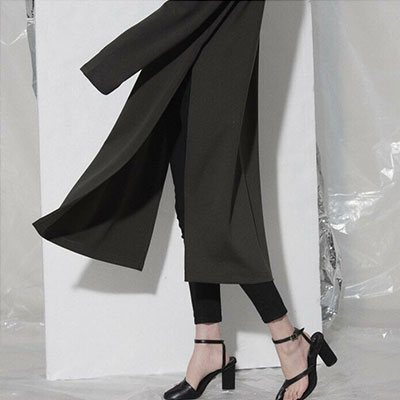 【FEMININE : BLACK LABEL】SIDE SLIT SIMPLY LONG DRESS  -khaki ver.