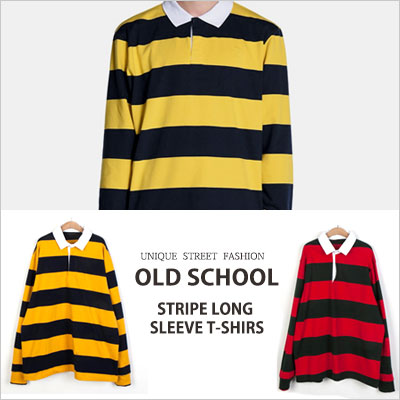 [UNISEX] OLD SCHOOL STRIPE LONG SLEEVE T-SHIRTS(2color)