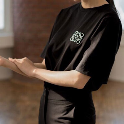 【FEMININE : BLACK LABEL】ROPE EMBROIDERED LOGO SHORT SLEEVE T-SHIRTS black ver.(2color)