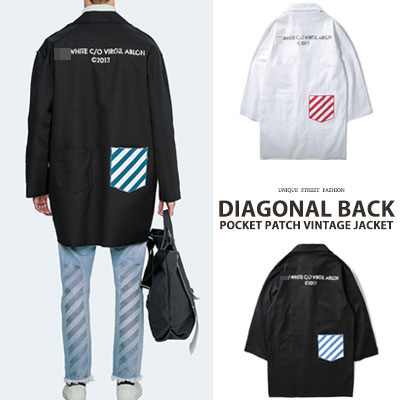 [UNISEX] DIAGONAL BACK POCKET PATCH VINTAGE JACKET(2color)