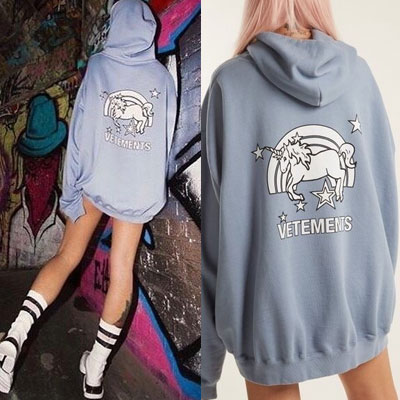 [UNISEX] BLACK_PINK/JENNIE ST.UNICORN BACK PRINT BLUE PULLOVER HOODIE(2size)