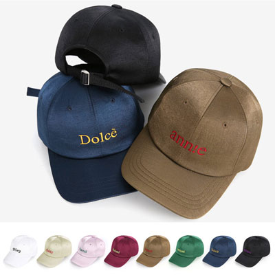 [UNISEX] GIRLISH LETTERING SATIN BALL CAP(8color)