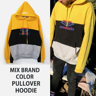 [UNISEX] MIX BRAND COLOR PULLOVER HOODIE(3size)
