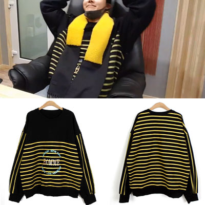 [UNISEX] 防弾少年団/BTS/J-HOPE st. HOMME LOGO EMBROIDERY YELLOW STRIP SWEATSHIRTS