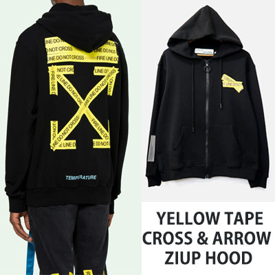 [UNISEX] YELLOW TAPE CROSS&ARROW ZIPUP HOOD(2size)