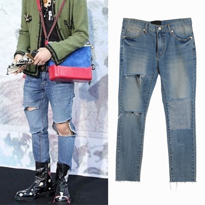 BIGBANG GD/G-DRAGON st. KNEE SQUARE DAMAGE BLUE JEANS(3size)