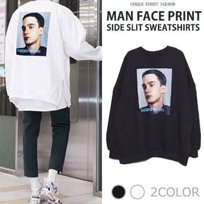 [UNISEX] MAN FACE PRINT SIDE SLIT SWEATSHIRTS(2color)