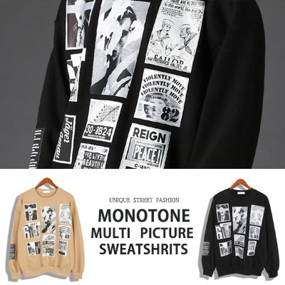 [UNISEX] MONOTONE MULTI PICTURE SWEATSHIRTS(2color)