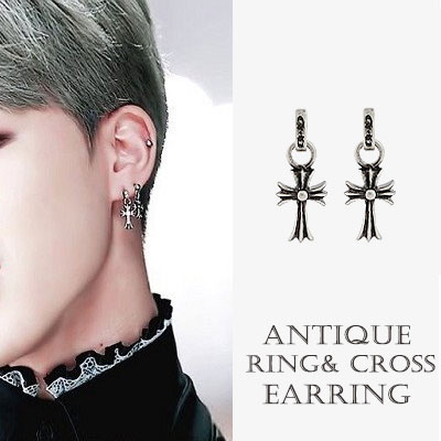 BTS JIMIN st. ANTIQUE RING / CROSS EARRING