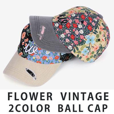 [UNISEX] FLOWER VINTAGE 2COLOR BALL CAP(2color)