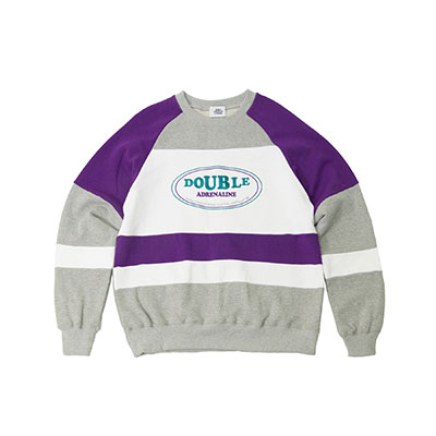 【2XADRENALINE】Old School Color Match Sweat Shirt -GREY