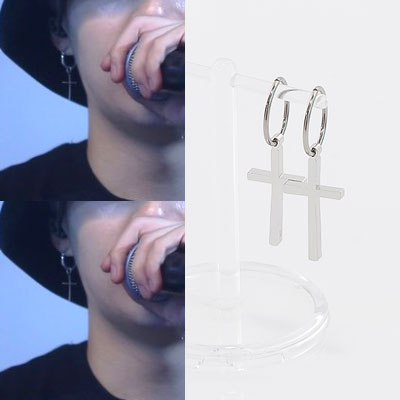 BTS SUGA st.SIMPLY RING CROSS PIERCING(2type)