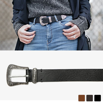 [UNISEX] WESTERN SYTLE 3COLOR LEATHER BELT(3color)