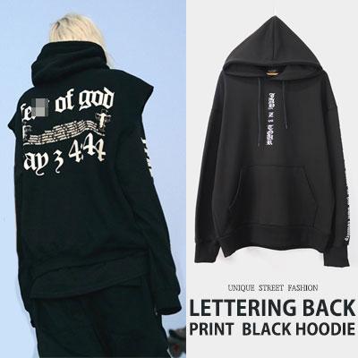 [UNISEX] LETTERING BACK PRINT BLACK HOODIE
